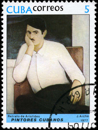 perforated stamp: CUBA - CIRCA 1977: A Stamp printed in CUBA shows the Portrait of Aristides, from the series Paintings by Jorge Arche, circa 1977
