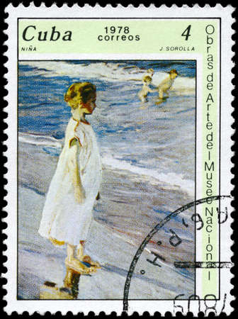cuba girl: CUBA - CIRCA 1978: A Stamp printed in CUBA shows the Girl, by J. Sorolla, from the series Paintings in the Natl. Museum of Art, circa 1978