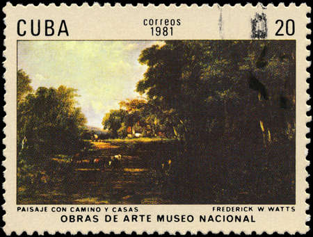 watts: CUBA - CIRCA 1981: A Stamp printed in CUBA shows the Landscape with Roadway and Houses, by Frederick Waters Watts, from the series Paintings in the Natl. Museum of Art, circa 1981