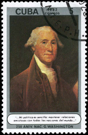 quotations: CUBA - CIRCA 1982: A Stamp printed in CUBA shows the portrait of G. Washington, devoted to 250th Birth Anniv., from the series Quotations and anonymous oil paintings, 18th-19th cent., circa 1982