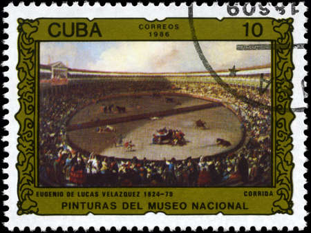 velazquez: CUBA - CIRCA 1986: A Stamp printed in CUBA shows the Bullfight, by Eugenio de Lucas Velazquez, from the series Paintings in the Natl. Museum, circa 1986