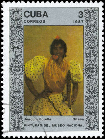 sorolla: CUBA - CIRCA 1987: A Stamp printed in CUBA shows the painting Gypsy, by Joaquin Sorolla, from the series Paintings in the Natl.Museum, circa 1987