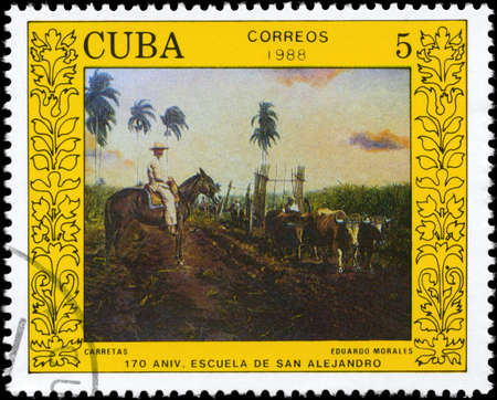 CUBA - CIRCA 1988: A Stamp printed in CUBA shows the Wagons, by Eduardo Morales, from the series San Alejandro Art School, 170th Anniv., circa 1988 photo
