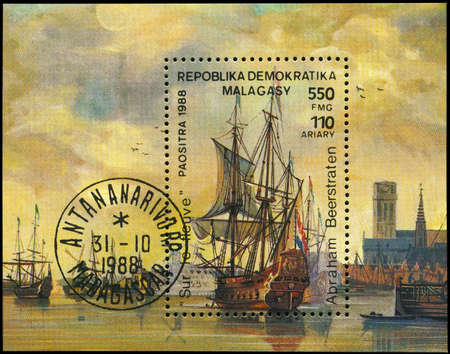 seafaring: MALAGASY REPUBLIC - CIRCA 1988: A Stamp sheet printed in MALAGASY REPUBLIC shows the On the River, by Abraham Beerstraten, from the series Ships, circa 1988