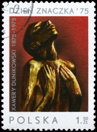 POLAND - CIRCA 1975: A Stamp printed in POLAND shows the sculpture