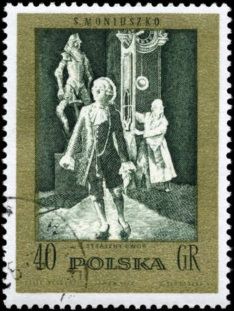 POLAND - CIRCA 1982: A Stamp printed in POLAND shows the Frightful Castle, from the series Scenes from Operas or Ballets by Moniuszko, circa 1982 photo