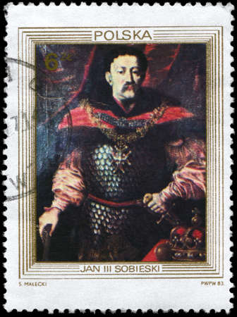 sobieski: POLAND - CIRCA 1983: A Stamp printed in POLAND shows the portrait of a King John III Sobieski, unknown court painter, from the series King�s Portraits, circa 1983