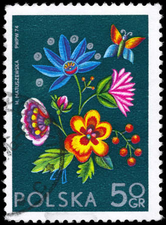 phytology: POLAND - CIRCA 1974: A Stamp printed in POLAND shows the Embroidery from Cracow, series, circa 1974