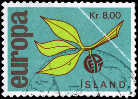 ICELAND - CIRCA 1965: A Stamp printed in ICELAND shows the Europa Issue, from the series