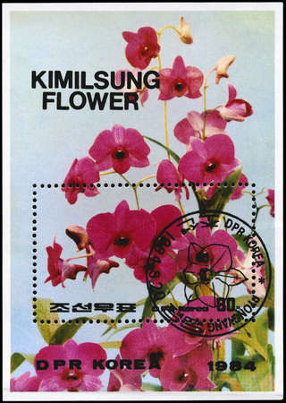 NORTH KOREA - CIRCA 1984: A Stamp sheet printed in NORTH KOREA shows image of a Kimilsungia, from the series Flowers, circa 1984 photo