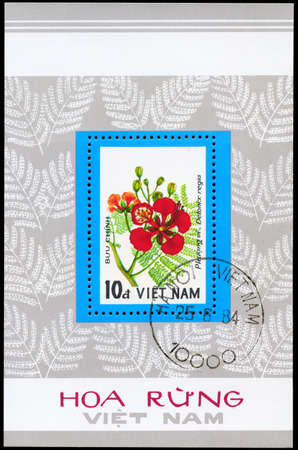 VIETNAM - CIRCA 1984: A Stamp sheet, printed in VIETNAM shows image of a Delonix regia, from the series Wildflowers, circa 1984 photo