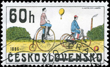 CZECHOSLOVAKIA - CIRCA 1979: A Stamp printed in CZECHOSLOVAKIA shows the Bicycles from 1886, series, circa 1979 photo