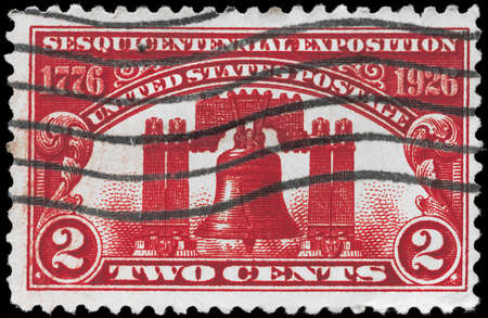 USA - CIRCA 1926: A Stamp printed in USA shows the Liberty Bell, devoted to 150th anniv. of the Declaration of Independence, Philadelphia, circa 1926 photo