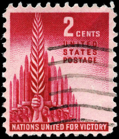 allegory: USA - CIRCA 1943: A Stamp printed in USA shows the Allegory of Victory, circa 1943
