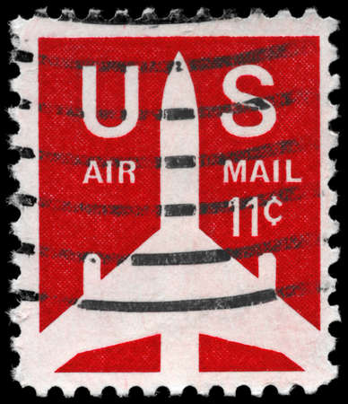 USA - CIRCA 1971: A Stamp printed in USA shows the Silhouette of Jet Airliner, series, circa 1971 photo