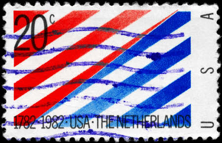 USA - CIRCA 1982: A Stamp printed in USA devoted to 200th Anniv. of Diplomatic Recognition by the Netherlands, circa 1982 Stock Photo - 11616041