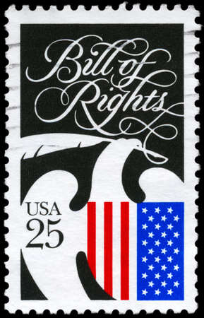 us constitution: USA - CIRCA 1989: A Stamp printed in USA devoted to Bill of Rights and Constitution Bicentennial, circa 1989