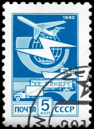 USSR - CIRCA 1982: A Stamp printed in USSR shows the Mail Transport, circa 1982 photo