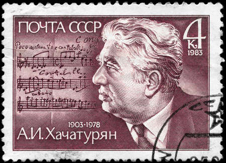 USSR - CIRCA 1983: A Stamp printed in USSR shows the portrait of a A.I. Khachaturian (1903-1978), Composer, circa 1983 photo