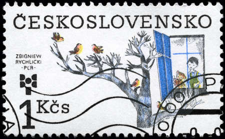 puerile: CZECHOSLOVAKIA - CIRCA 1983: A Stamp printed in CZECHOSLOVAKIA shows the painting of a Zbigniew Rychlicki, Poland, from the series 9th Biennial of Illustrations for Children and Youth, circa 1983 Stock Photo