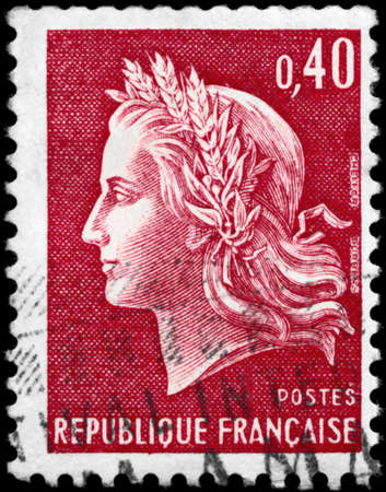 marianne: FRANCE - CIRCA 1969: A Stamp printed in FRANCE shows the portrait of a Marianne, series, circa 1969