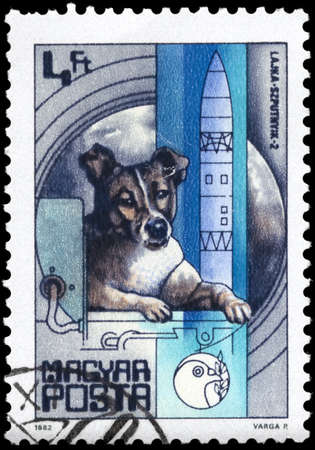 HUNGARY - CIRCA 1982: A Stamp printed in HUNGARY shows the Laika, Sputnik 2 (1957), from the series 25 Years of Space Travel, circa 1982 photo