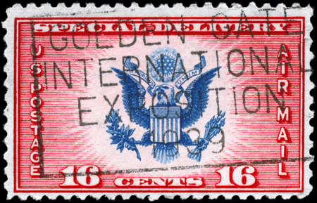 USA - CIRCA 1936: A Stamp printed in USA shows the Great Seal of United States, circa 1936 Stock Photo - 11616922