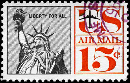 USA - CIRCA 1959: A Stamp printed in USA shows the Statue of Liberty, with the inscription Liberty for all, series, circa 1959 photo