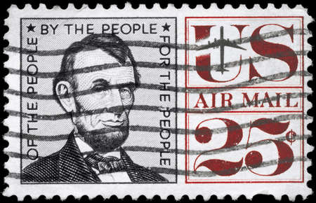 USA - CIRCA 1960: A Stamp printed in USA shows the portrait of a Abraham Lincoln (1809-1865), 16th President of the United States, circa 1960 photo