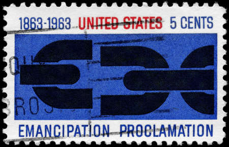 emancipation: USA - CIRCA 1963: A Stamp printed in USA shows the Severed Chain, devoted to Cent. of Lincoln's Emancipation Proclamation, circa 1963