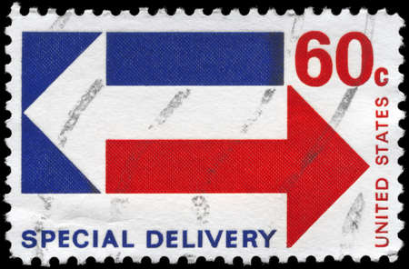 USA - CIRCA 1971: A Stamp printed in USA shows the stylized Arrows, meaning Special Delivery, circa 1971 photo