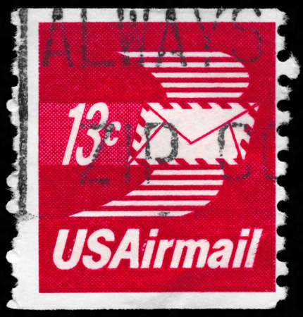 USA - CIRCA 1973: A Stamp printed in USA shows the Winged Airmail Envelope, circa 1973 photo