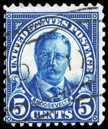USA - CIRCA 1922: A Stamp printed in USA shows the portrait of a Theodore Roosevelt (1858-1919), series, circa 1922 photo