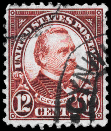 USA - CIRCA 1923: A Stamp printed in USA shows the portrait of a Grover Cleveland (1837-1908), series, circa 1923 Stock Photo - 11967467