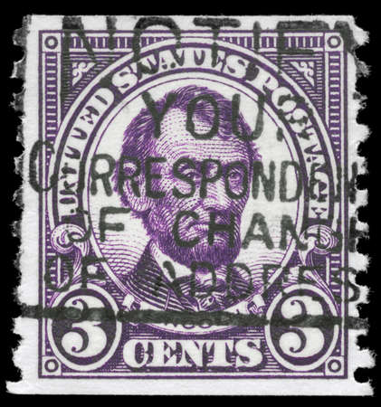 USA - CIRCA 1923: A Stamp printed in USA shows the portrait of a Abraham Lincoln (1809-1865), series, circa 1923 Stock Photo - 11967484