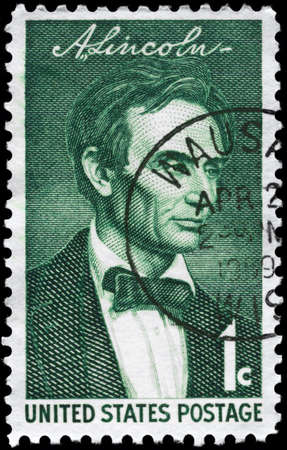USA - CIRCA 1959: A Stamp printed in USA shows the portrait of a Abraham Lincoln (1809-1865), by George Healy, series, circa 1959 Stock Photo - 11967515