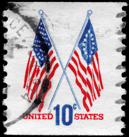 old glory: USA - CIRCA 1973: A Stamp printed in USA shows the 50-Star & 13-Star Flags, circa 1973