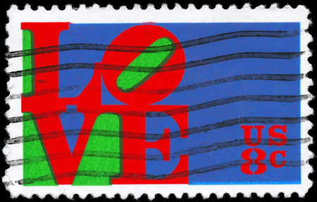 USA - CIRCA 1973: A Stamp printed in USA shows the Love by Robert Indiana, circa 1973 photo