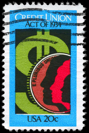 credit union: USA - CIRCA 1984: A Stamp printed in USA devoted to 50th Anniv. of Credit Union Act, circa 1984