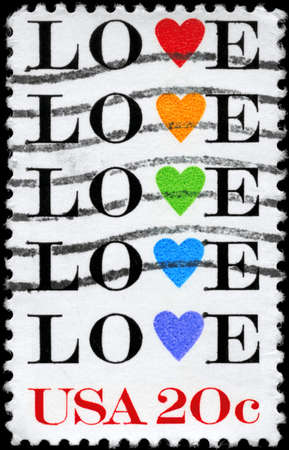 USA - CIRCA 1984: A Stamp printed in USA shows the Love symbols, circa 1984 photo