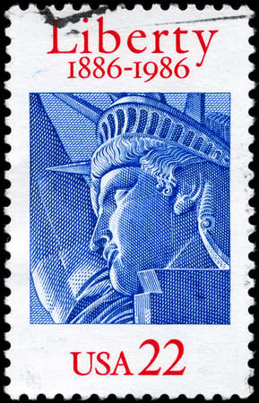 USA - CIRCA 1986: A Stamp printed in USA shows the Statue of Liberty, century, circa 1986 photo