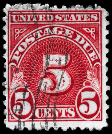 USA - CIRCA 1930: A Stamp printed in USA shows the Stamp with denomination 5c value, circa 1930