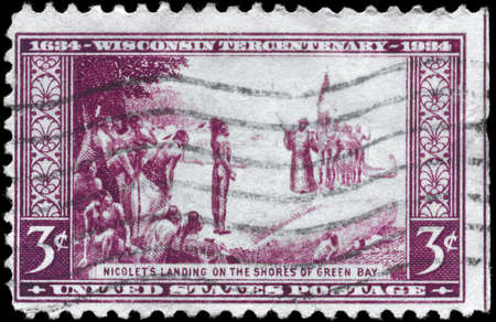 indian postal stamp: USA - CIRCA 1934: A Stamp printed in USA devoted to Tercentenary of the arrival of French explorer Jean Nicolet at Green Bay, Wisconsin, circa 1934 Editorial