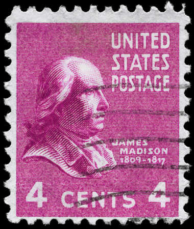 USA - CIRCA 1938: A Stamp printed in USA shows the portrait of a James Madison (1751-1836), series, circa 1938 Stock Photo - 12662359