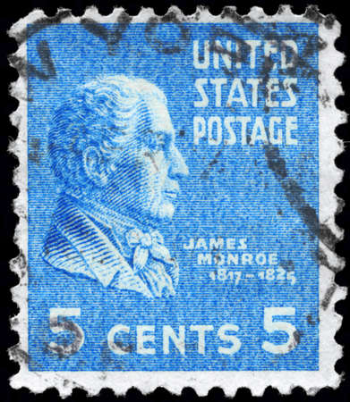 USA - CIRCA 1938: A Stamp printed in USA shows the portrait of a James Monroe (1758-1831), series, circa 1938 Stock Photo - 12662401