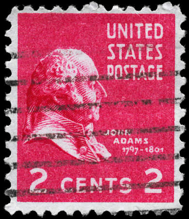 USA - CIRCA 1938: A Stamp printed in USA shows the portrait of a John Adams (1735-1826), series, circa 1938 Stock Photo - 12662379