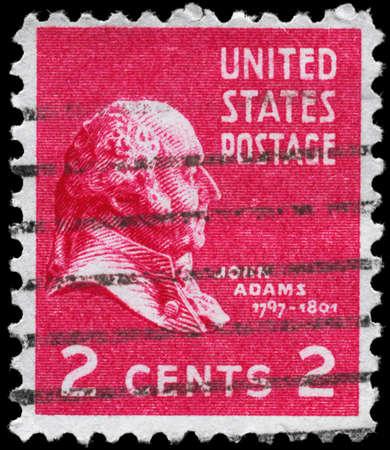 adams: USA - CIRCA 1938: A Stamp printed in USA shows the portrait of a John Adams (1735-1826), series, circa 1938