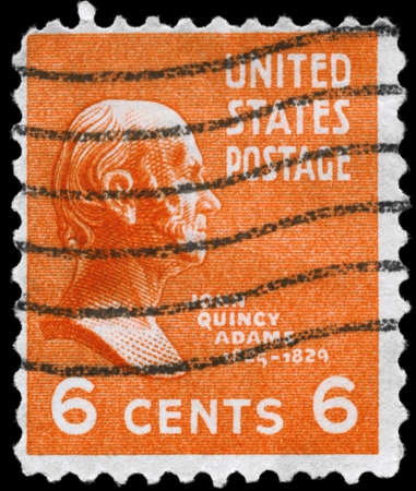 USA - CIRCA 1938: A Stamp printed in USA shows the portrait of a John Quincy Adams (1767-1829), series, circa 1938 Stock Photo - 12662377