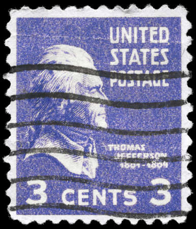 USA - CIRCA 1938: A Stamp printed in USA shows the portrait of a Thomas Jefferson (1743-1826), series, circa 1938 Stock Photo - 12662369