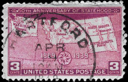 statehood: USA - CIRCA 1939: A Stamp printed in USA devoted to 50th anniv. of admission to Statehood of North Dakota, South Dakota, Montana and Washington, circa 1939 Editorial